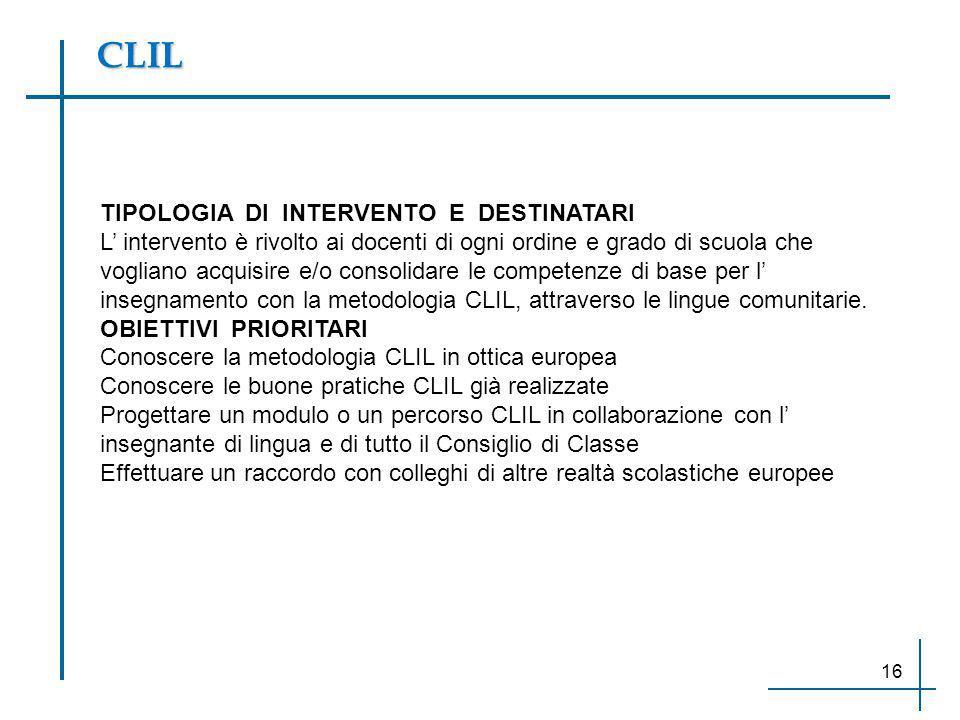CLIL TIPOLOGIA DI INTERVENTO E DESTINATARI