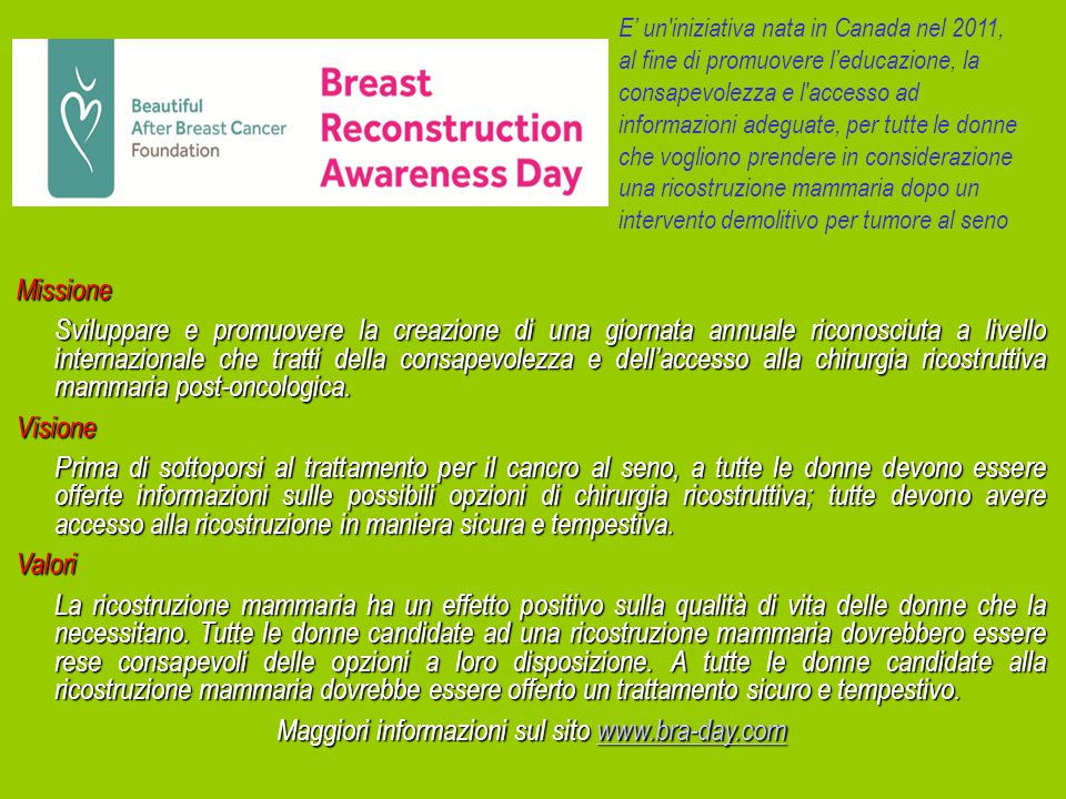 Maggiori informazioni sul sito www.bra-day.com