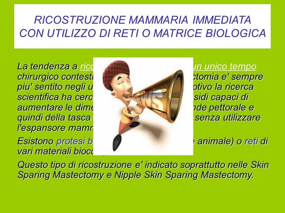 RICOSTRUZIONE MAMMARIA IMMEDIATA CON UTILIZZO DI RETI O MATRICE BIOLOGICA