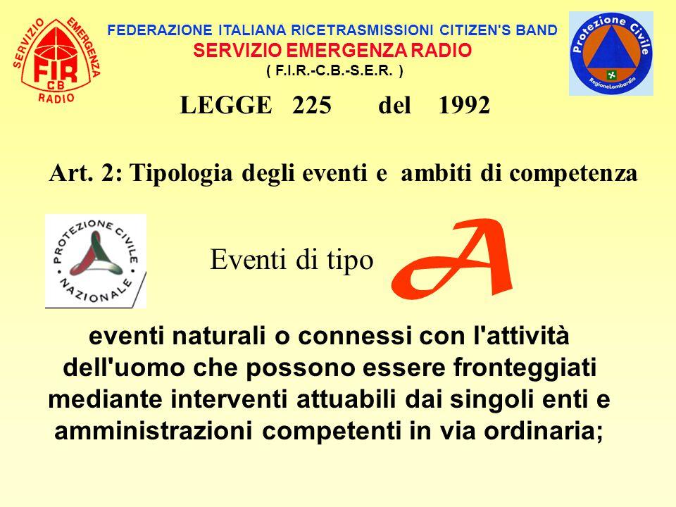 A Eventi di tipo LEGGE 225 del 1992