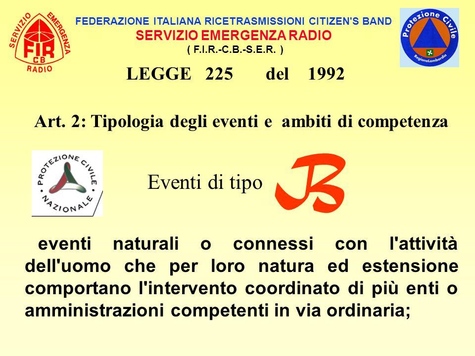 B Eventi di tipo LEGGE 225 del 1992