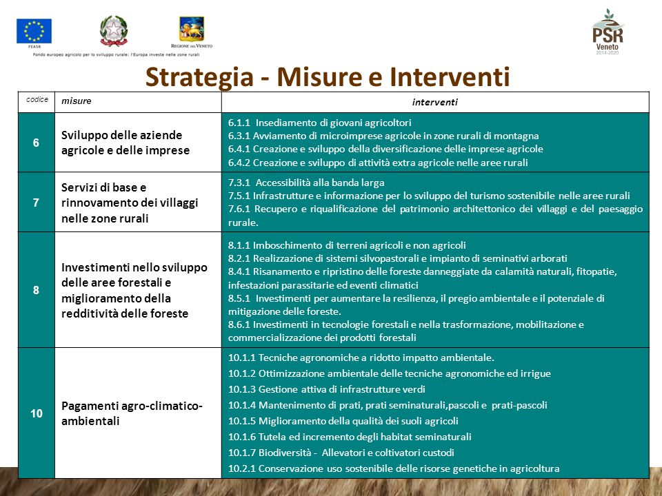 Strategia - Misure e Interventi