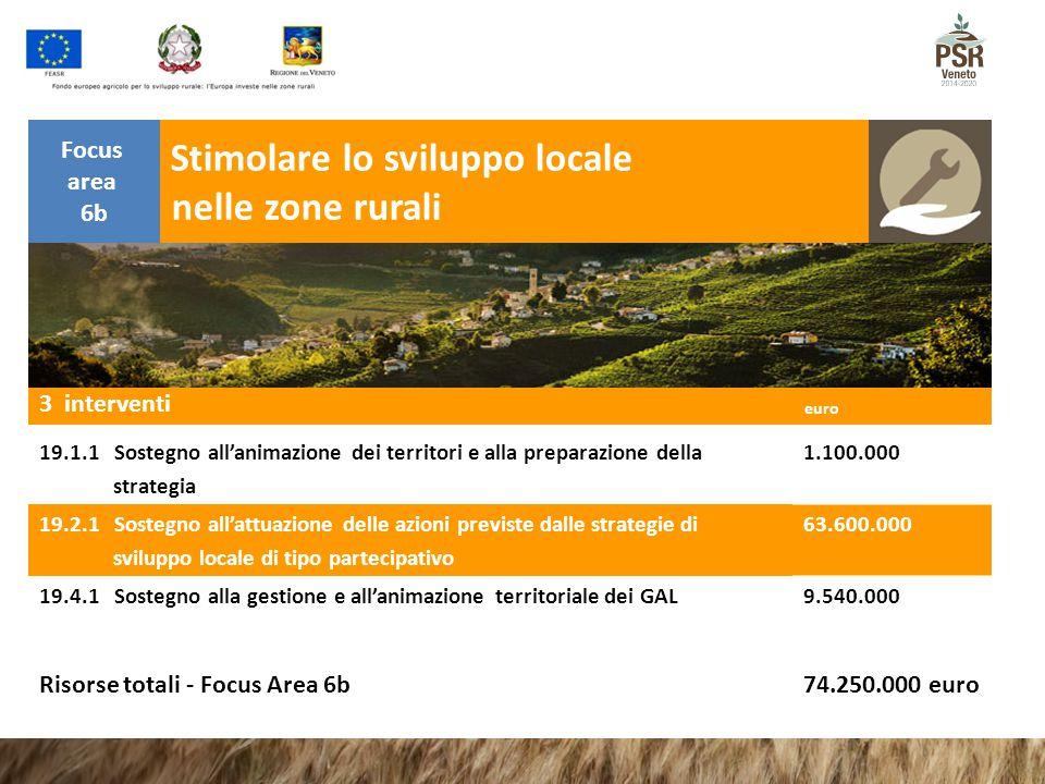 nelle zone rurali Stimolare lo sviluppo locale Focus area 6b