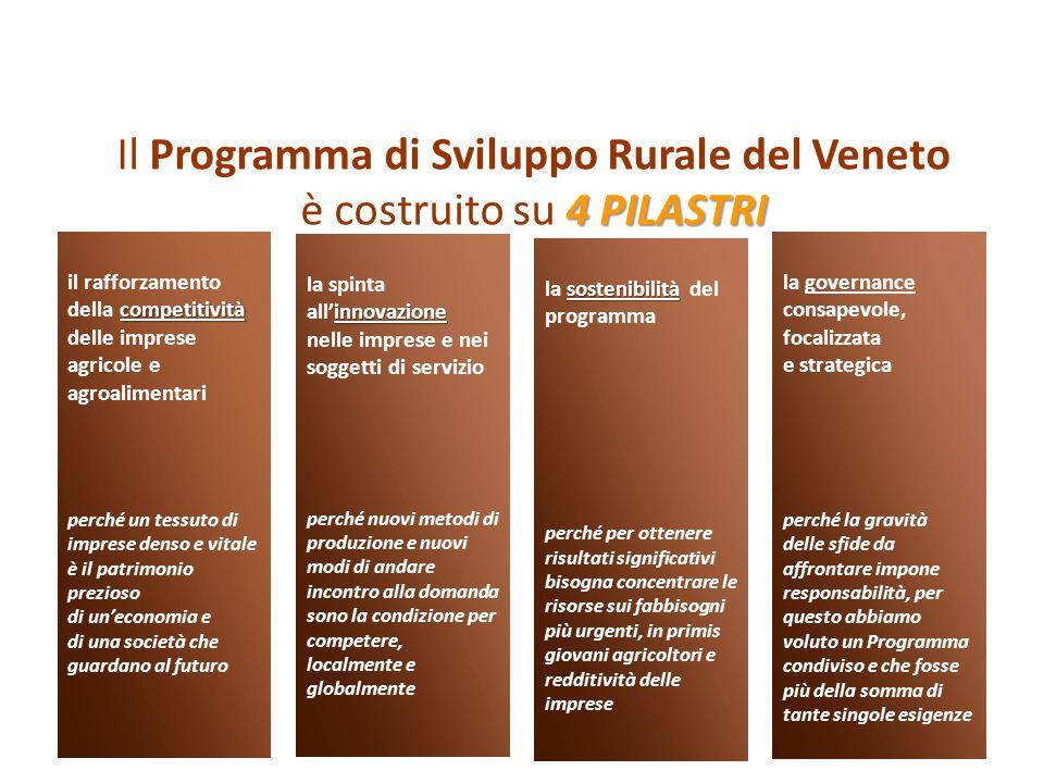 Il Programma di Sviluppo Rurale del Veneto è costruito su 4 PILASTRI