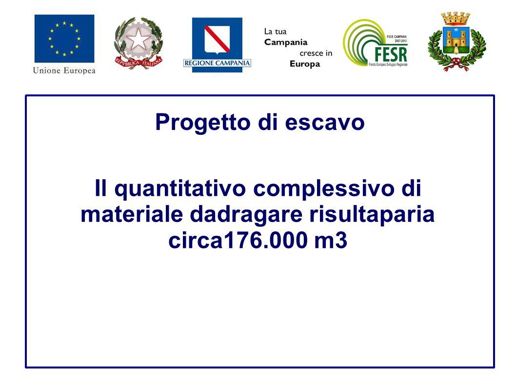 Progetto di escavo Il quantitativo complessivo di materiale dadragare risultaparia circa176.000 m3.