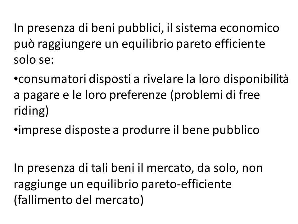 In presenza di beni pubblici, il sistema economico può raggiungere un equilibrio pareto efficiente solo se: