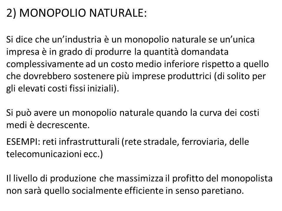 2) MONOPOLIO NATURALE: