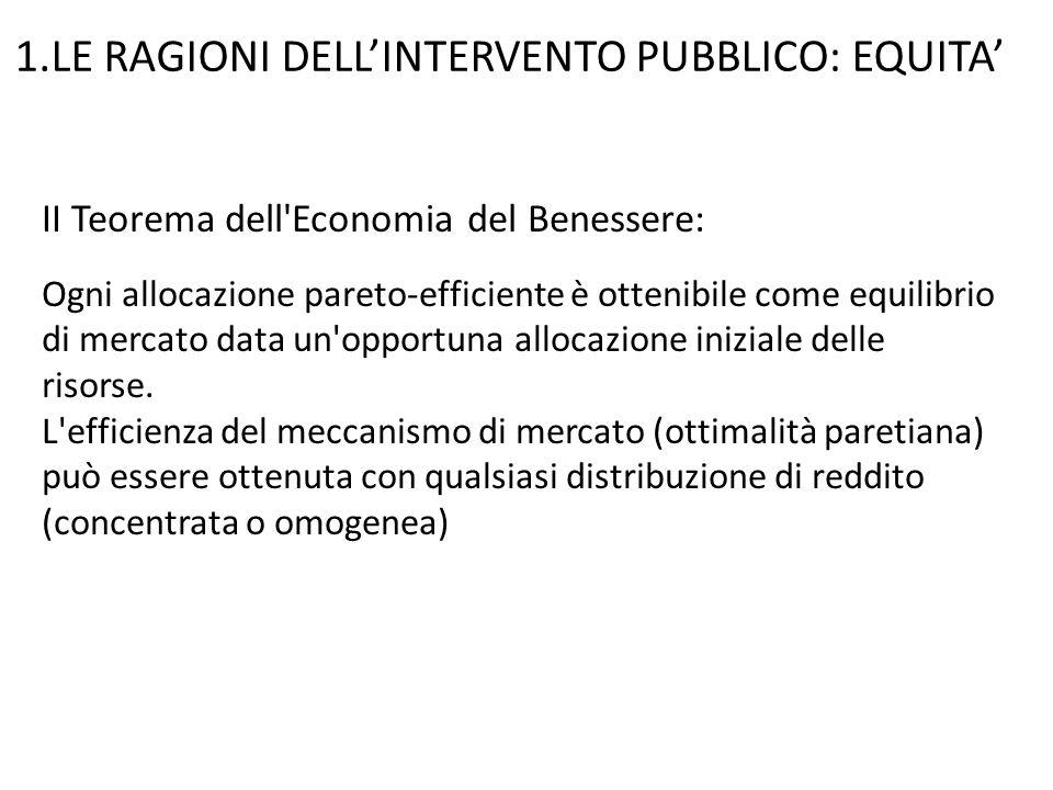 1.LE RAGIONI DELL'INTERVENTO PUBBLICO: EQUITA'