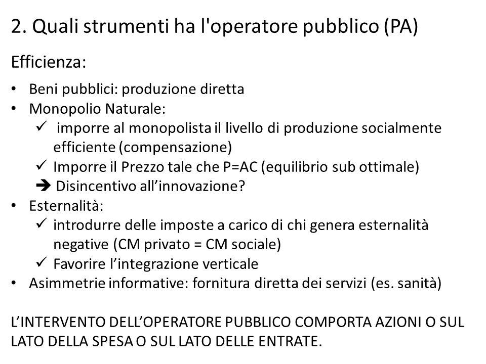 2. Quali strumenti ha l operatore pubblico (PA)