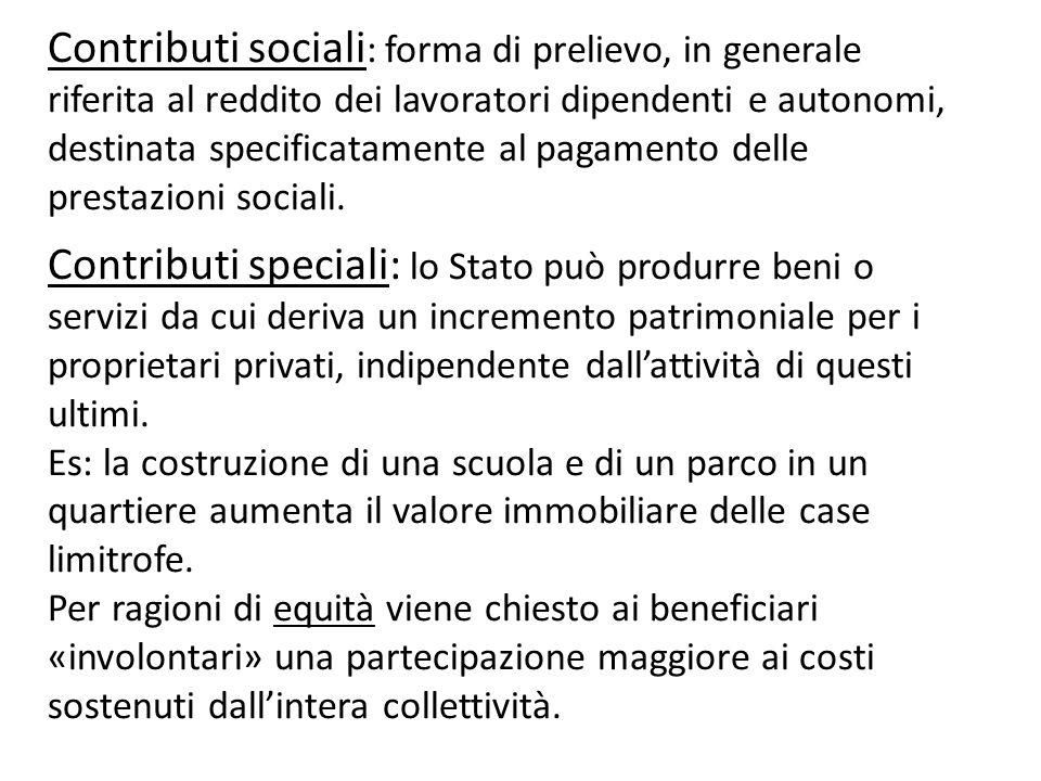 Contributi sociali: forma di prelievo, in generale riferita al reddito dei lavoratori dipendenti e autonomi, destinata specificatamente al pagamento delle prestazioni sociali.