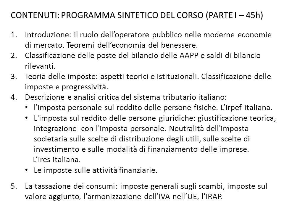 CONTENUTI: PROGRAMMA SINTETICO DEL CORSO (PARTE I – 45h)
