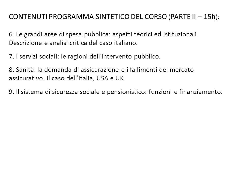 CONTENUTI PROGRAMMA SINTETICO DEL CORSO (PARTE II – 15h):