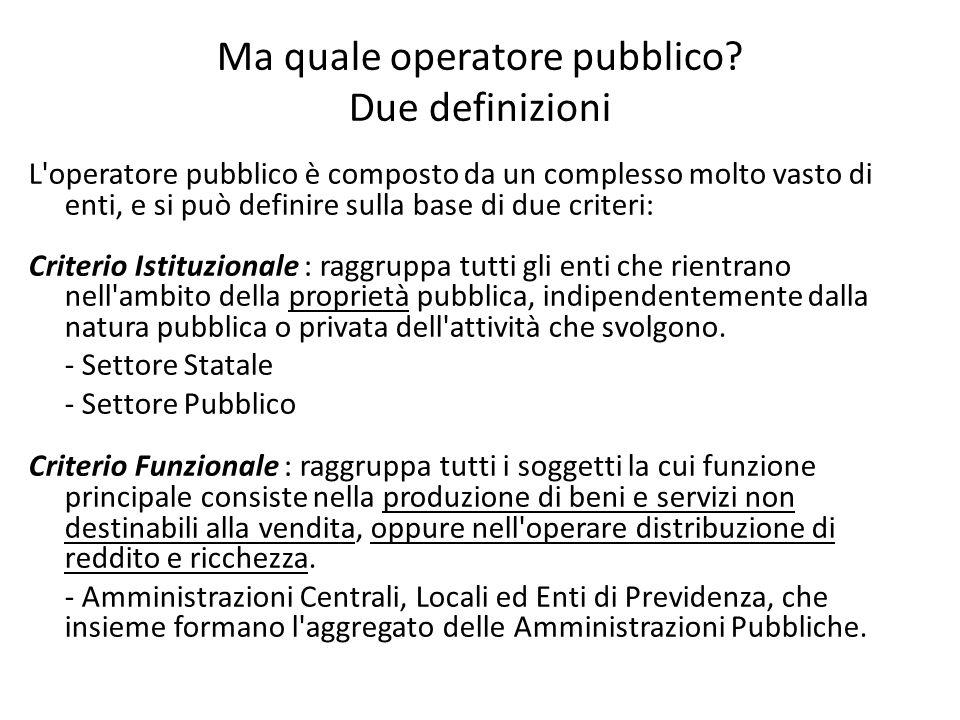 Ma quale operatore pubblico Due definizioni