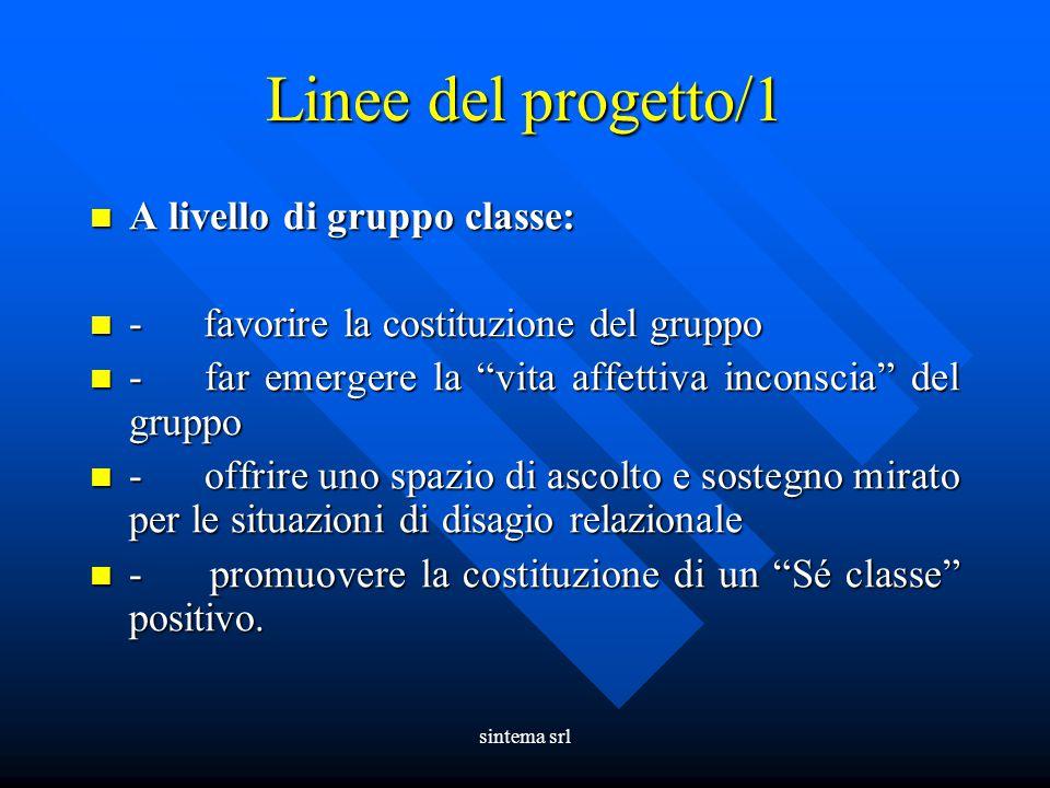 Linee del progetto/1 A livello di gruppo classe: