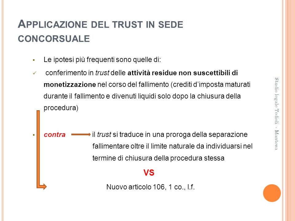 Applicazione del trust in sede concorsuale