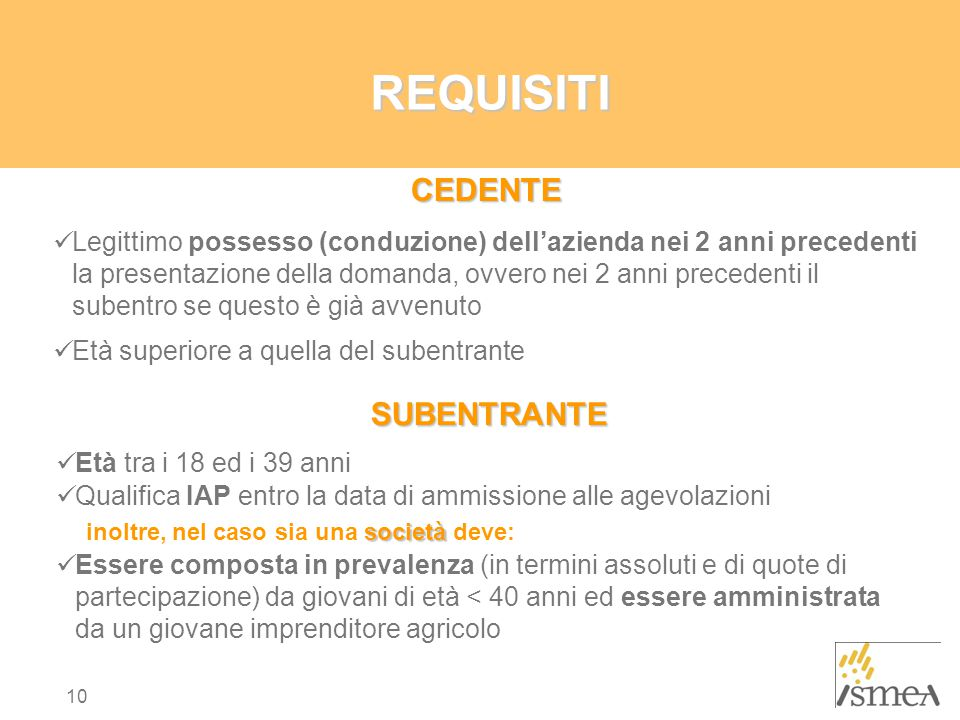 REQUISITI CEDENTE.
