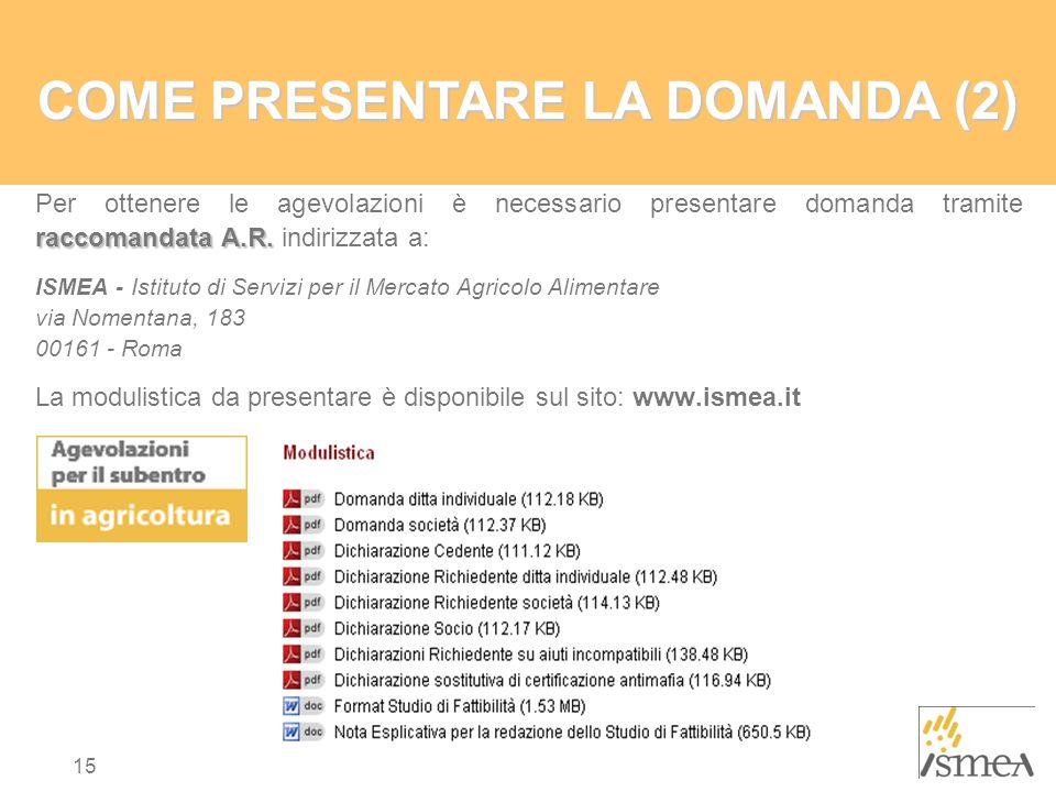 COME PRESENTARE LA DOMANDA (2)