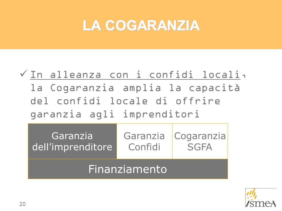 LA COGARANZIA In alleanza con i confidi locali, la Cogaranzia amplia la capacità del confidi locale di offrire garanzia agli imprenditori.