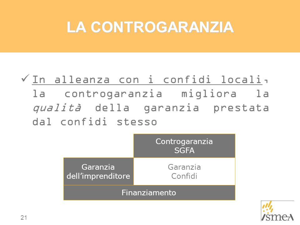 LA CONTROGARANZIA In alleanza con i confidi locali, la controgaranzia migliora la qualità della garanzia prestata dal confidi stesso.