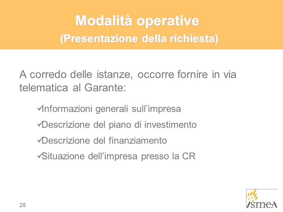 Modalità operative (Presentazione della richiesta)