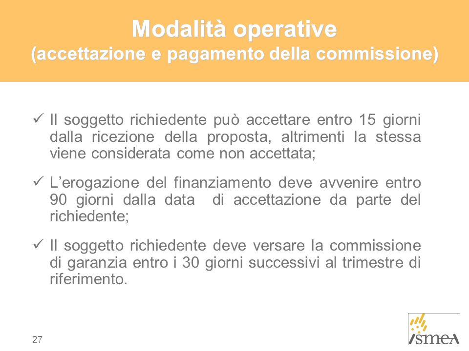 Modalità operative (accettazione e pagamento della commissione)