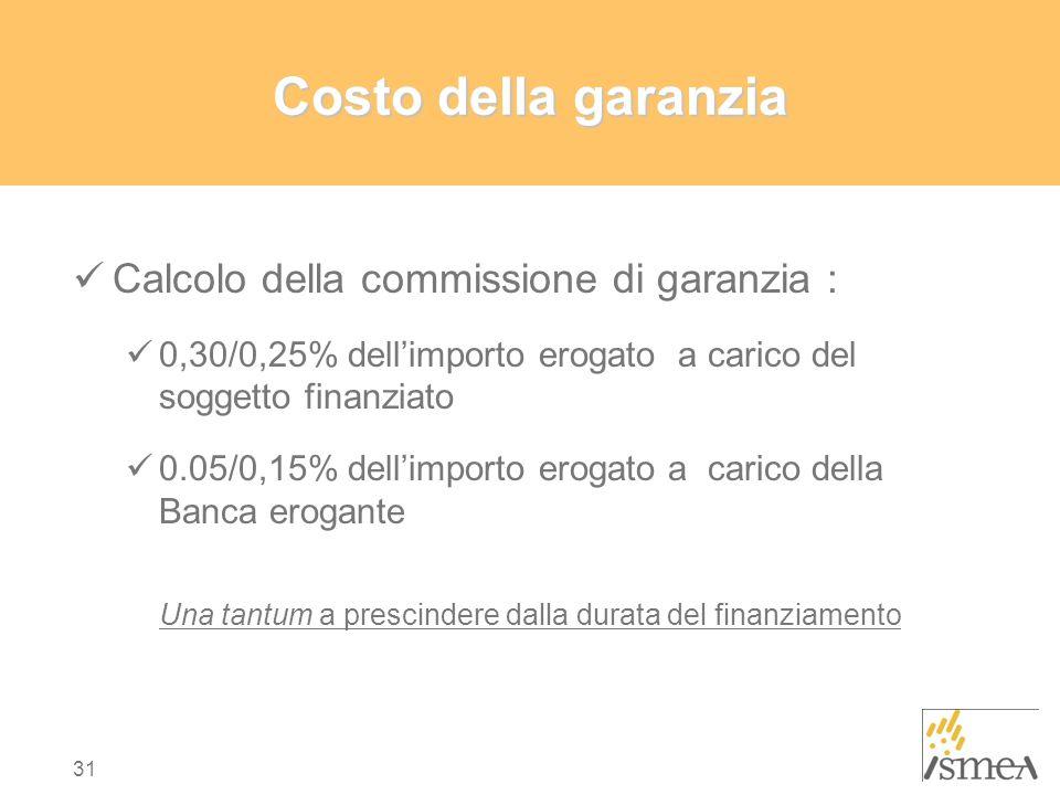 Costo della garanzia Calcolo della commissione di garanzia :