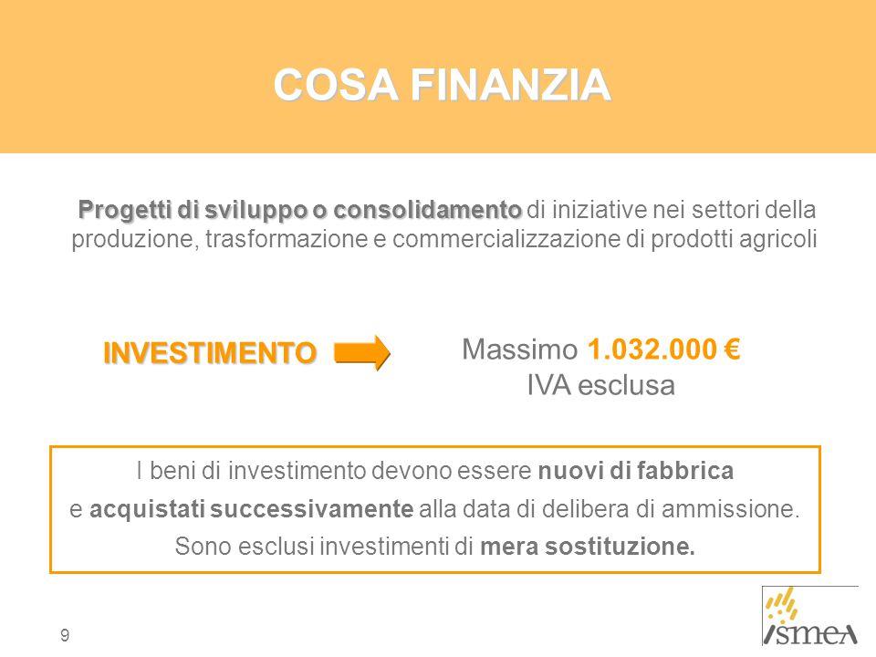 COSA FINANZIA Massimo 1.032.000 € INVESTIMENTO IVA esclusa