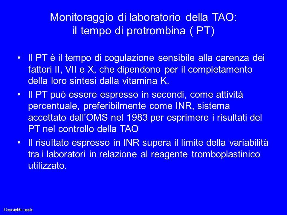 Monitoraggio di laboratorio della TAO: il tempo di protrombina ( PT)