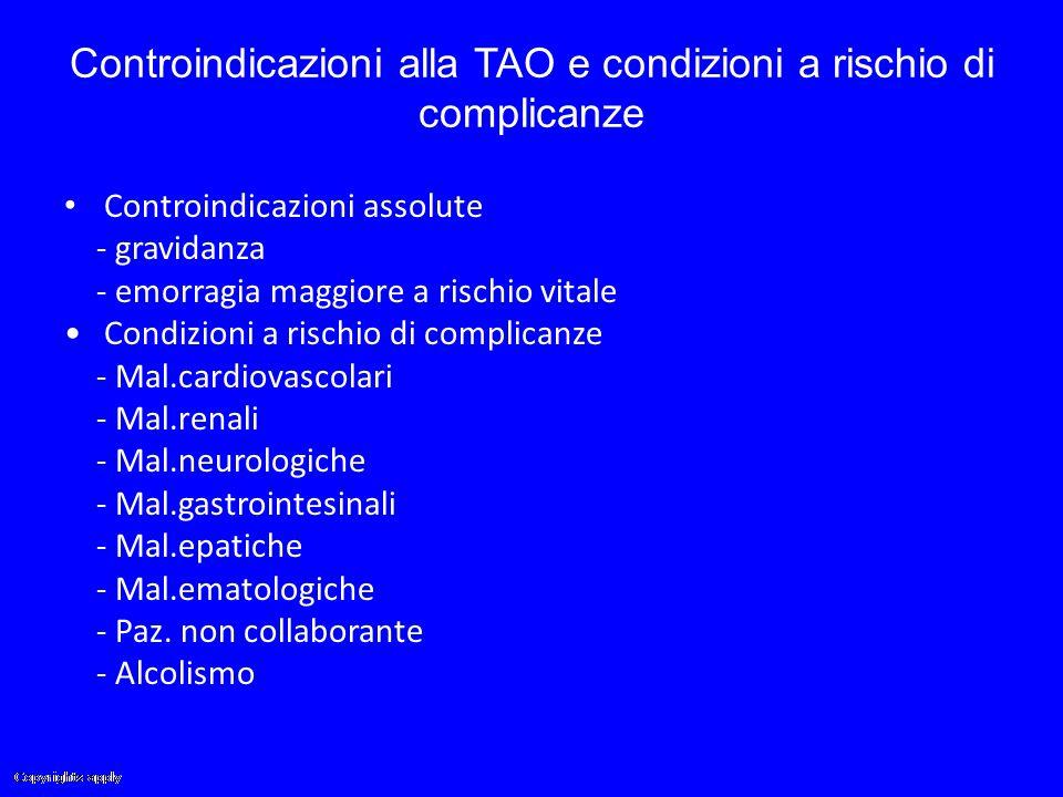 Controindicazioni alla TAO e condizioni a rischio di complicanze