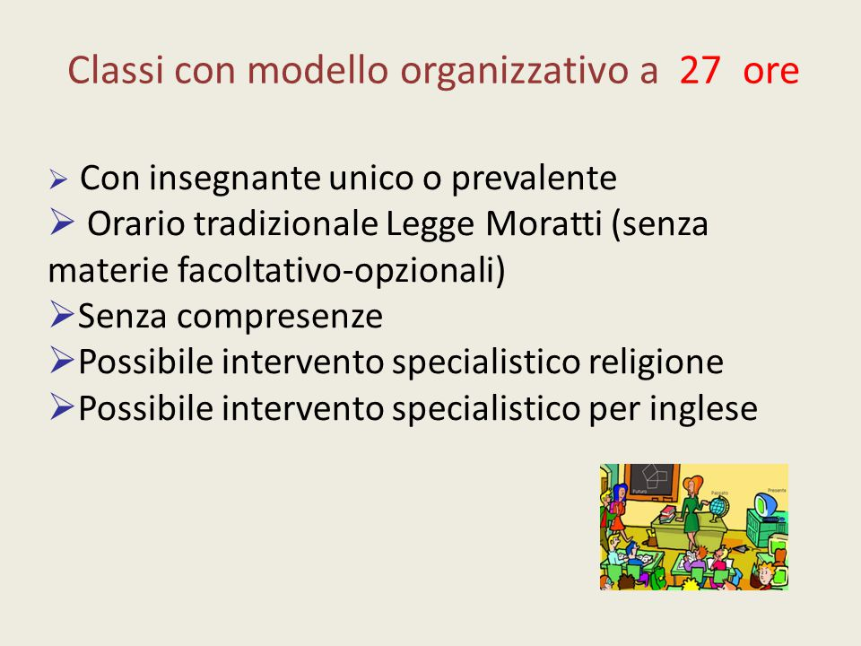 Classi con modello organizzativo a 27 ore