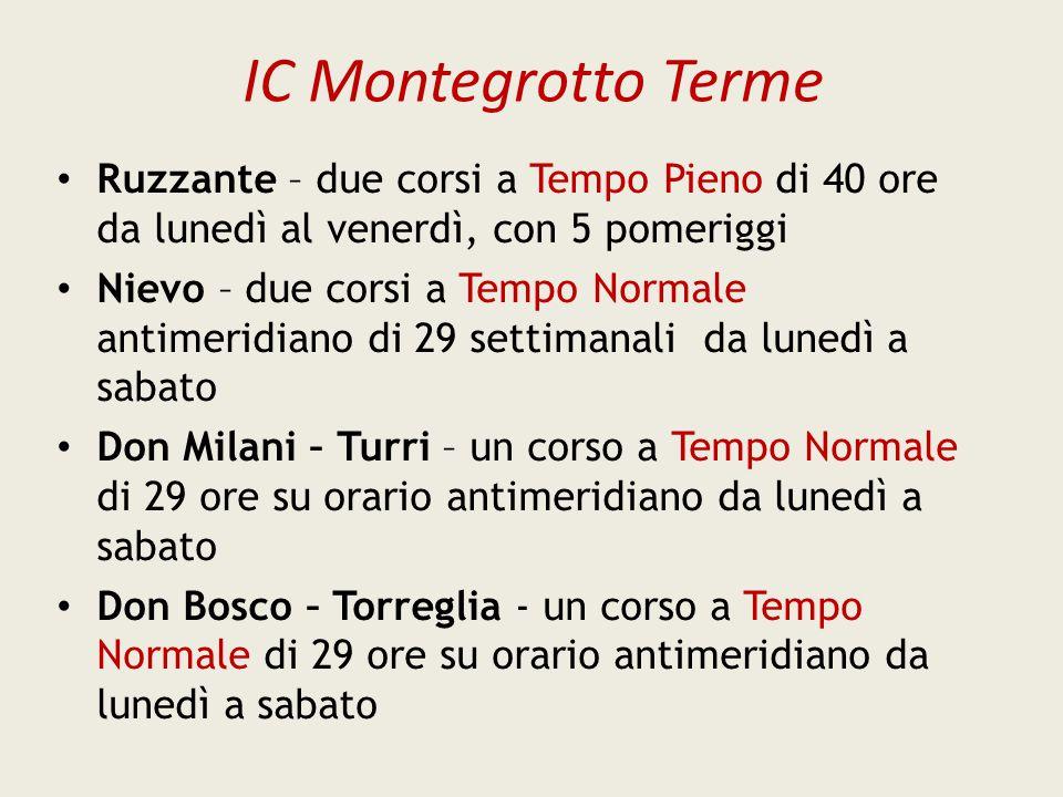 IC Montegrotto Terme Ruzzante – due corsi a Tempo Pieno di 40 ore da lunedì al venerdì, con 5 pomeriggi.