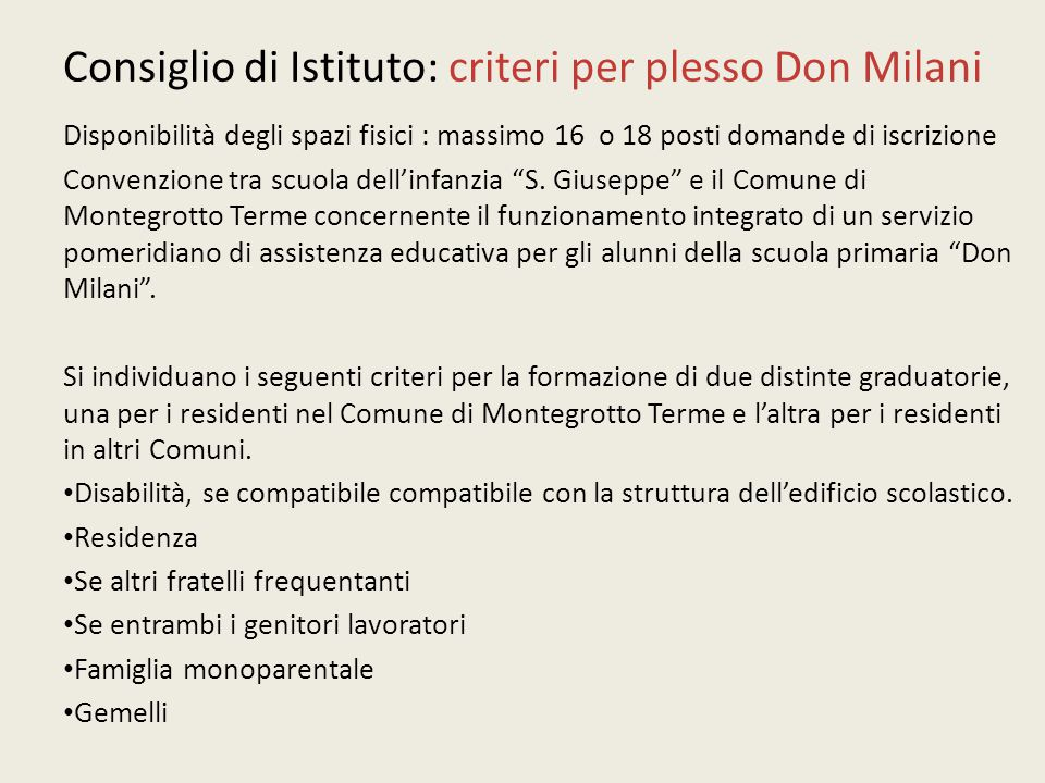 Consiglio di Istituto: criteri per plesso Don Milani