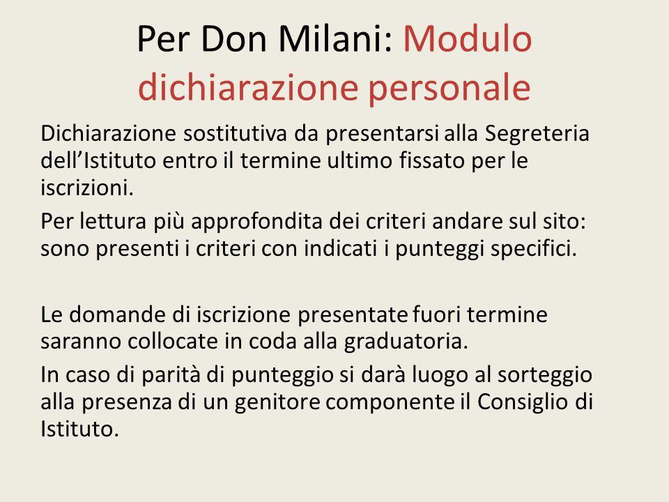 Per Don Milani: Modulo dichiarazione personale