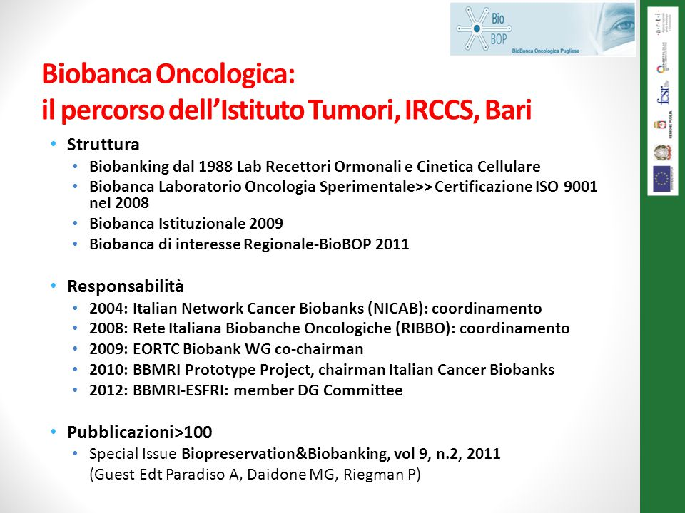 Biobanca Oncologica: il percorso dell'Istituto Tumori, IRCCS, Bari