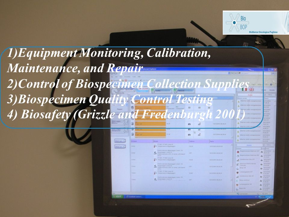 1)Equipment Monitoring, Calibration, Maintenance, and Repair 2)Control of Biospecimen Collection Supplies 3)Biospecimen Quality Control Testing 4) Biosafety (Grizzle and Fredenburgh 2001)