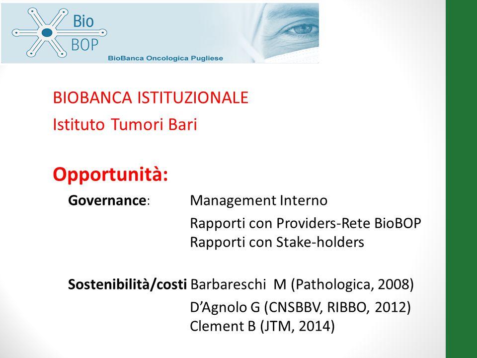 Opportunità: BIOBANCA ISTITUZIONALE Istituto Tumori Bari