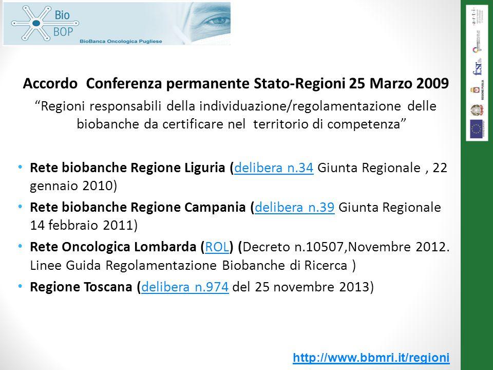Accordo Conferenza permanente Stato-Regioni 25 Marzo 2009