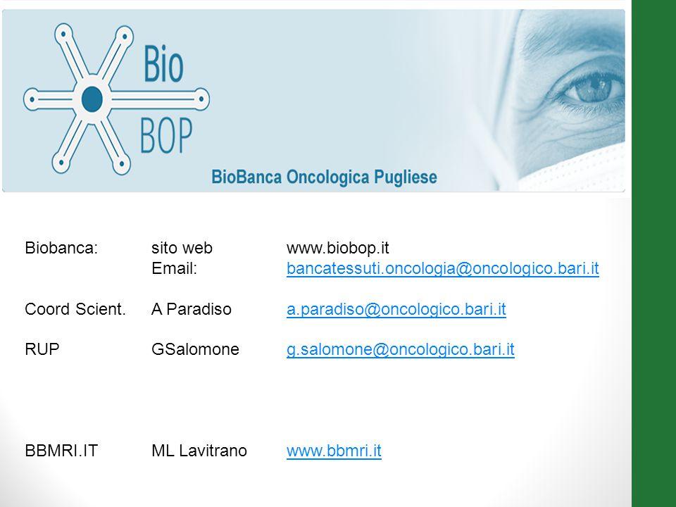 Biobanca: sito web www.biobop.it Email: bancatessuti.oncologia@oncologico.bari.it. Coord Scient. A Paradiso a.paradiso@oncologico.bari.it.