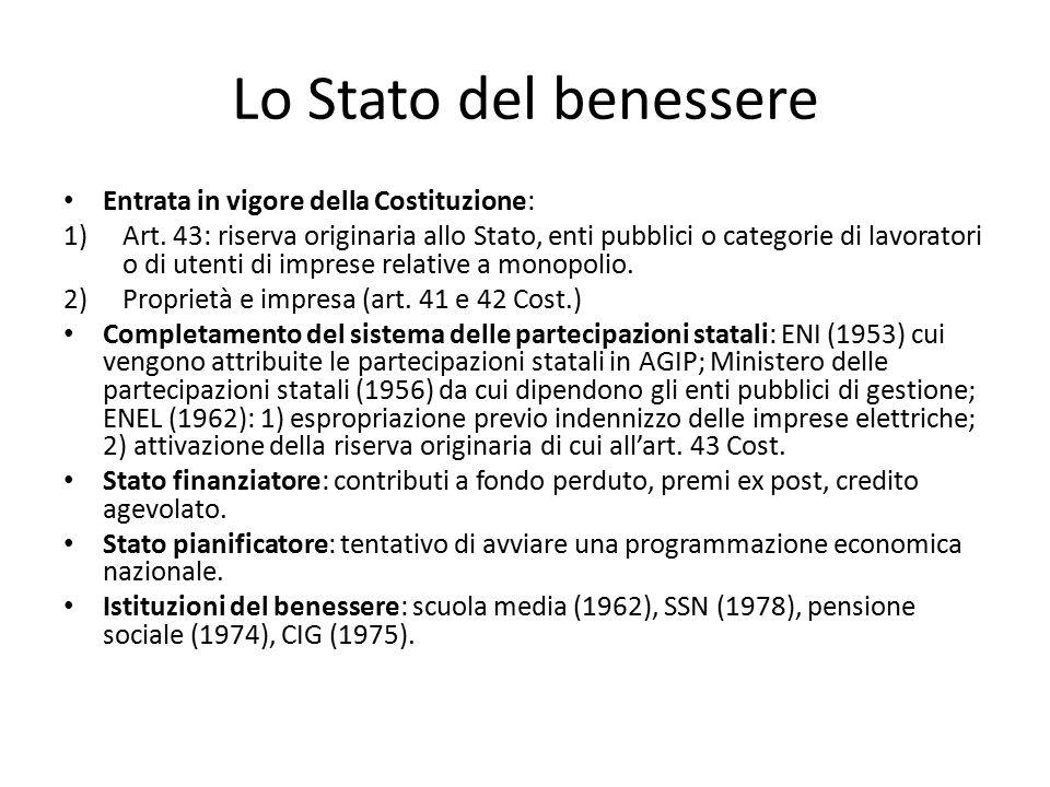 Lo Stato del benessere Entrata in vigore della Costituzione:
