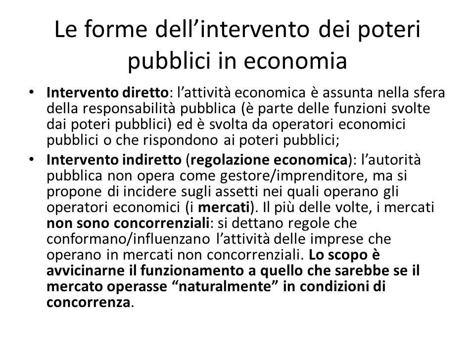 Le forme dell'intervento dei poteri pubblici in economia