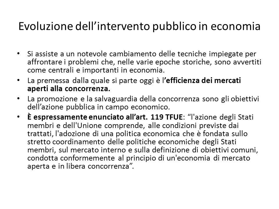 Evoluzione dell'intervento pubblico in economia