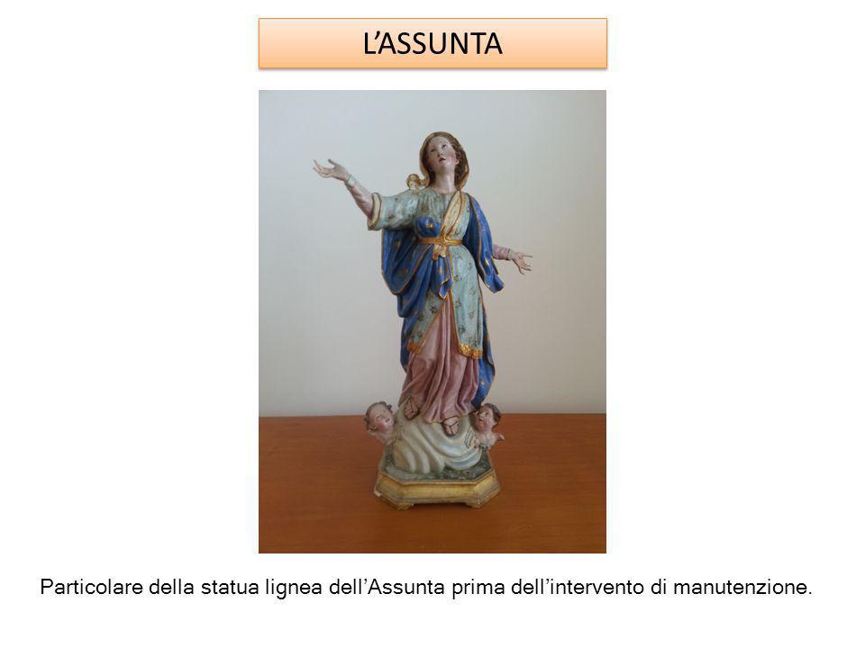 L'ASSUNTA Particolare della statua lignea dell'Assunta prima dell'intervento di manutenzione.