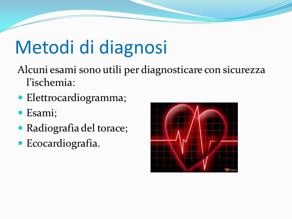 Metodi di diagnosi Alcuni esami sono utili per diagnosticare con sicurezza l'ischemia: Elettrocardiogramma;