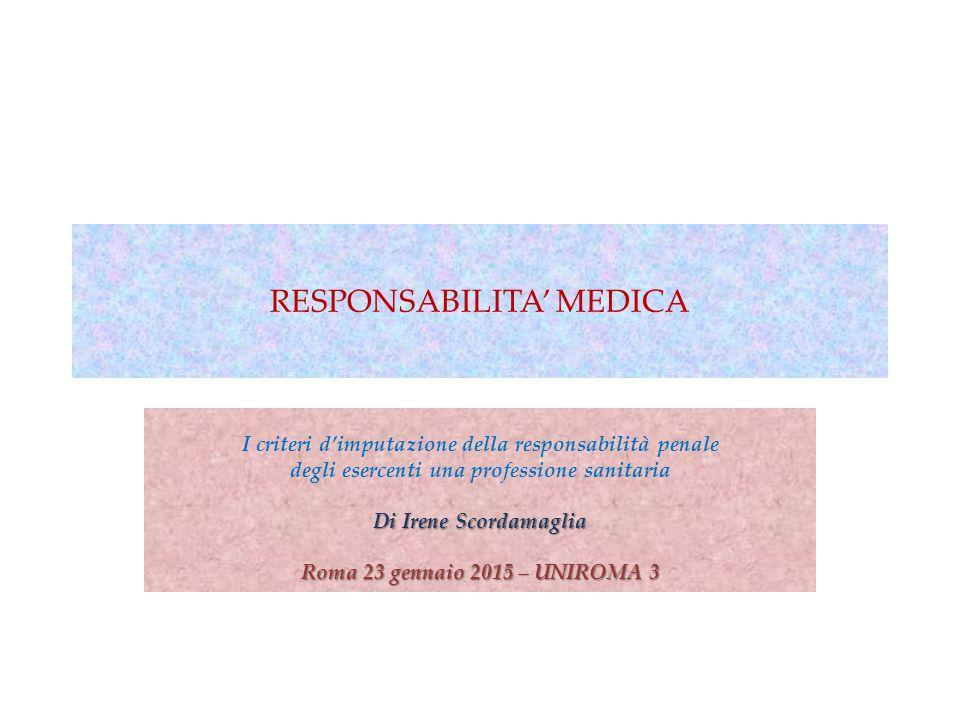 RESPONSABILITA' MEDICA