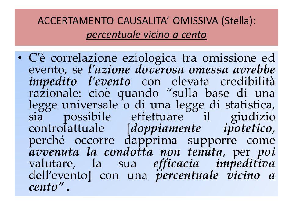 ACCERTAMENTO CAUSALITA' OMISSIVA (Stella): percentuale vicino a cento