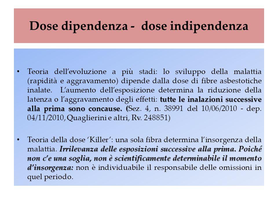 Dose dipendenza - dose indipendenza