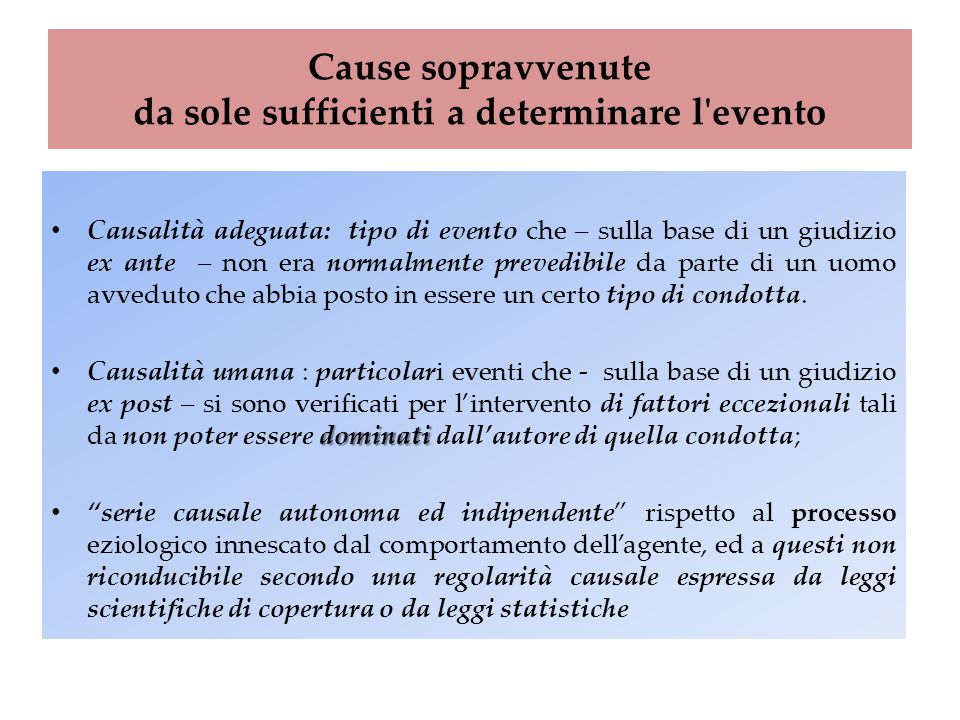 Cause sopravvenute da sole sufficienti a determinare l evento