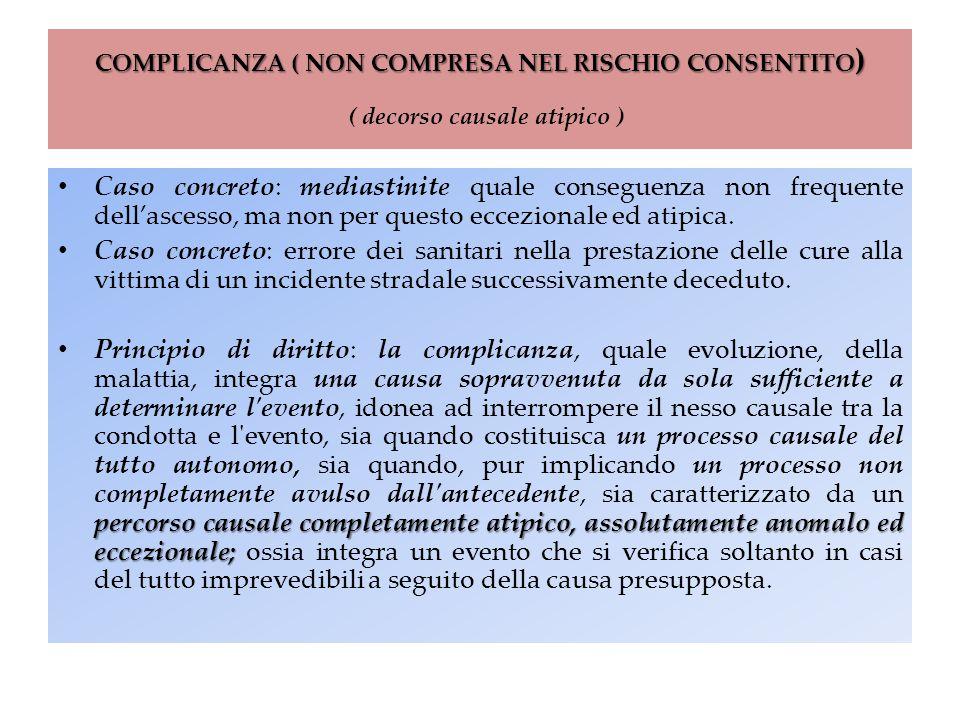 COMPLICANZA ( NON COMPRESA NEL RISCHIO CONSENTITO) ( decorso causale atipico )