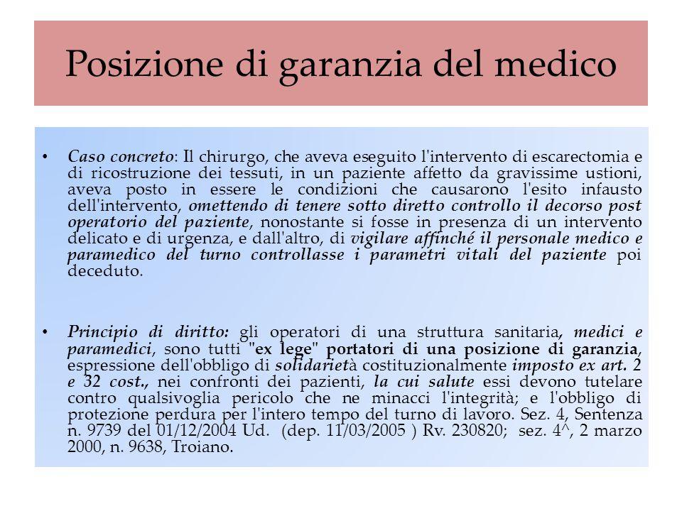 Posizione di garanzia del medico