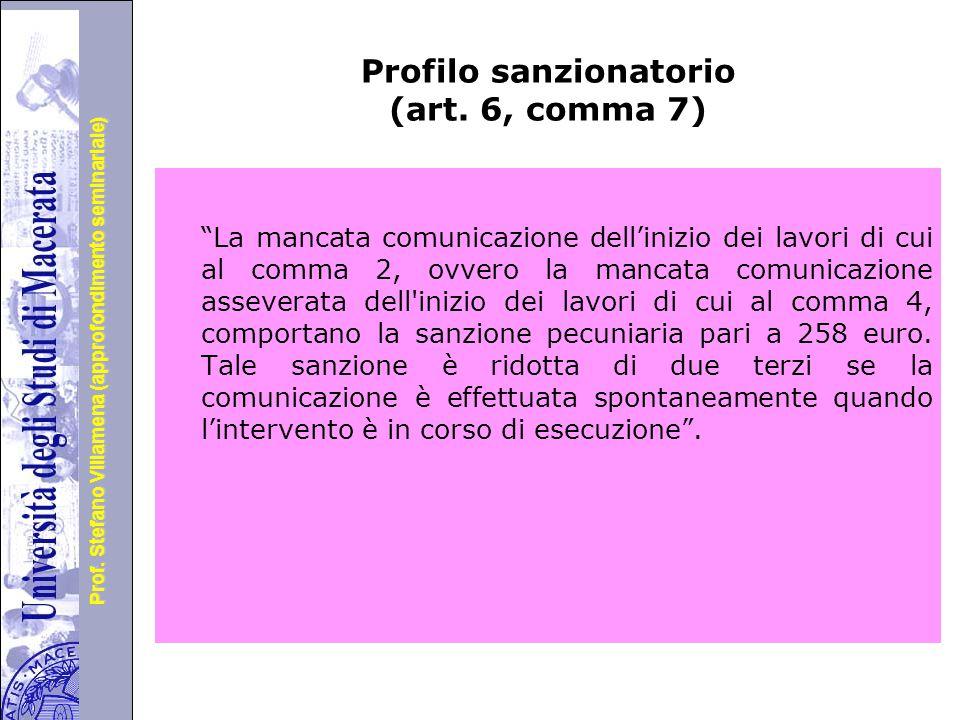 Profilo sanzionatorio (art. 6, comma 7)